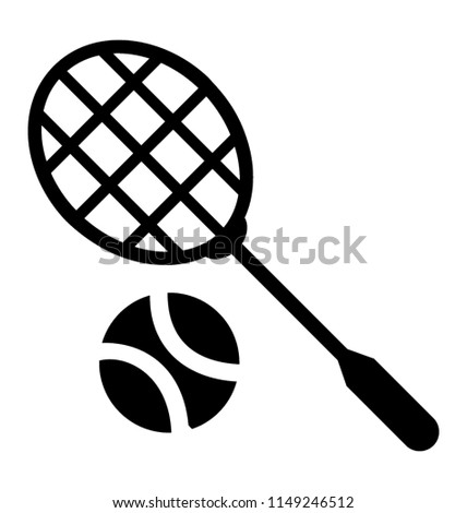 Ball with a racket for playing tennis