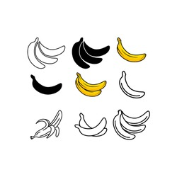 Banana icon collection - vector outline and silhouette.  banana icon isolated on white background.banana vector icon simple and modern flat symbol for web site, mobile, logo, app, UI.