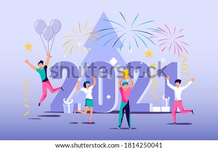 2021 banner template. Business people celebrate new year concept. Isolated on white. Flat Art Vector Illustration