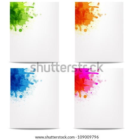4 Banners With Color Blob, Isolated On White Background, Vector Illustration