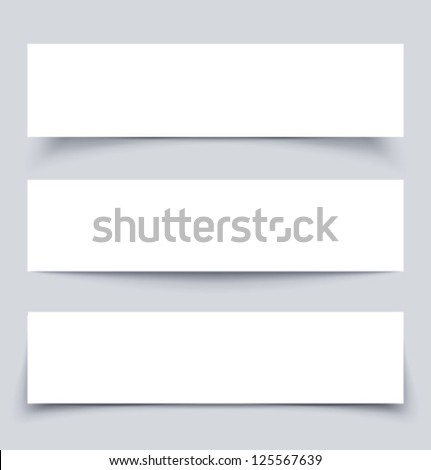 Banners with shadows, material design vector illustration
