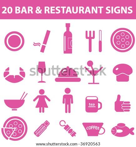 20 bar & restaurant signs. vector