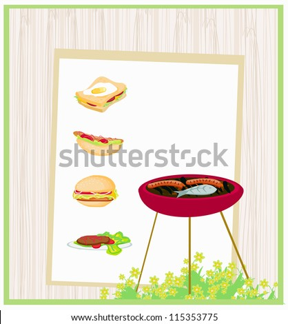 Barbecue Party Invitation - stock vector