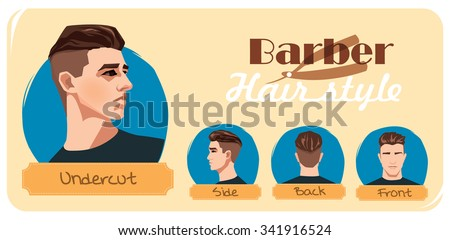 Barber hairstyle. Fashion undercut haircut