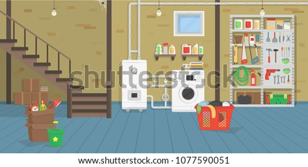 Basement with boiler, washer, stairs, shelf with tools. Vector illustration of flat cartoon style.
