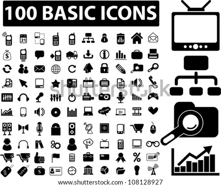 100 basic black web icons set, vector