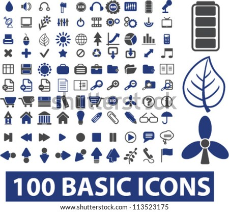100 basic icons set, vector