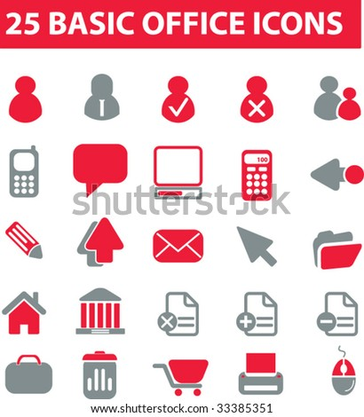 25 basic office icons. red series. vector. please, visit my portfolio to find more similar.