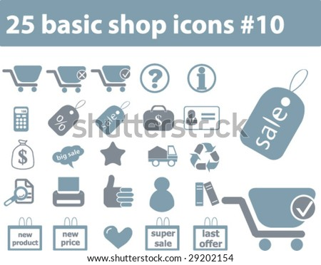 25 basic shop icons # 10 - vector set