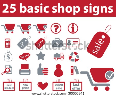 25 basic shop signs - red series
