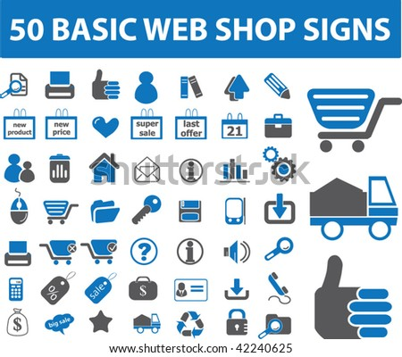 50 basic web shop signs. vector