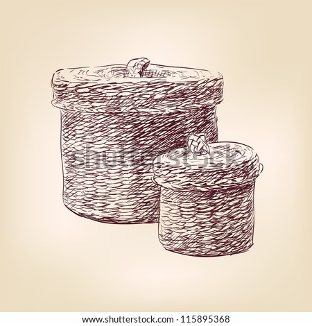 basket - hand drawn  vector illustration  isolated