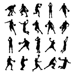 20 Basketball Black Silhouette Vector Illustration
