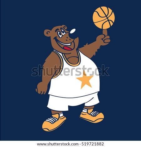 basketball funny bear vector