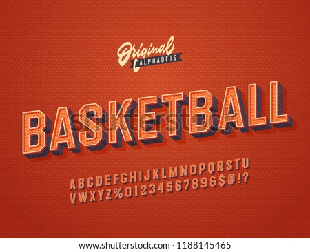 'Basketball' Vintage Slanted 3D Octagonal Alphabet. Retro Basketball Typeface. Sport Jersey Font. Vector Illustration.