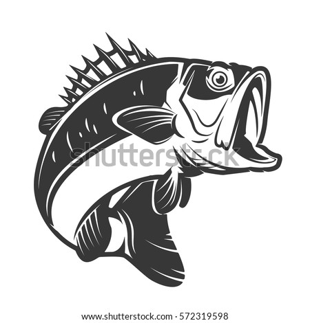 bass fish icons isolated on white background. Design element for logo, label, emblem, sign, brand mark. Vector illustration.