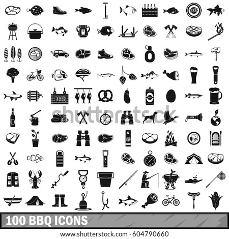 100 bbq icons set in simple