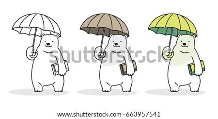 bear polar bear rain umbrella