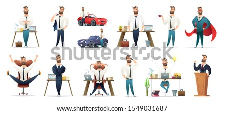 Bearded charming business men in different situations and poses. Manager character design. Businessman collection.