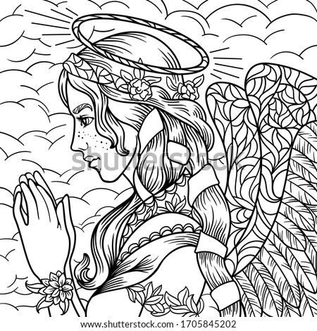 beautiful angel girl coloring