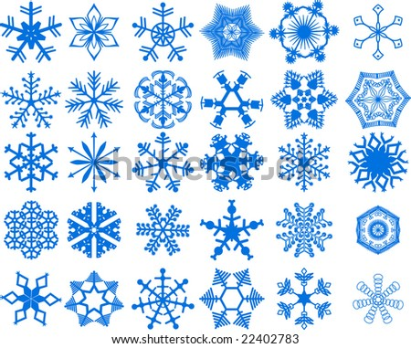 stock vector 30 beautiful cold crystal snowflakes vector illustration