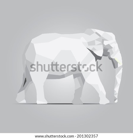Stock Photo  beautiful  elephant abstract geometric polygon vector