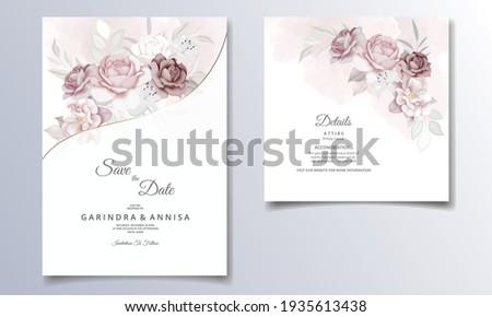 Beautiful floral frame wedding invitation card template Premium Vector