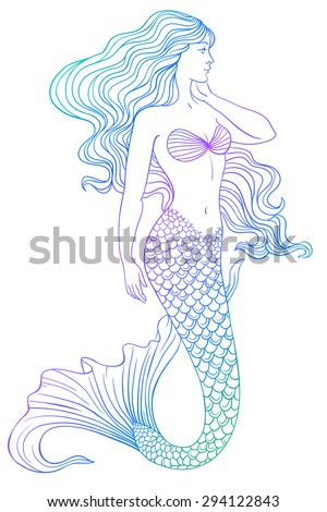 beautiful mermaid outline