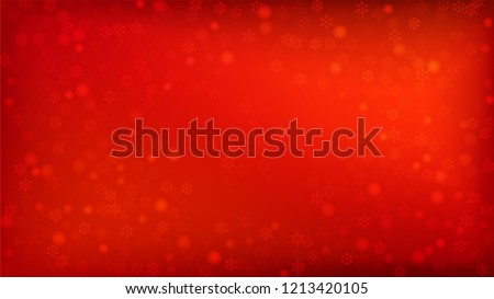 Beautiful Red Christmas Background with Falling Snowflakes.  Element of Design with Snow for a Postcard, Invitation Card, Banner, Flyer.  Vector Falling Snowflakes on a Red Winter Background.