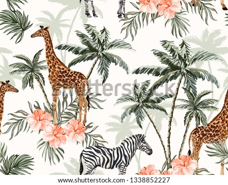 Beautiful tropical vintage palm trees and cheetah floral seamless pattern white background. Exotic jungle wallpaper with coconut palms, coral hibiscus, giraffe, zebra, giraffe. Isolated on white back