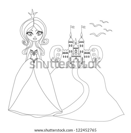 Beautiful young princess in front of her castle - doodle illustration