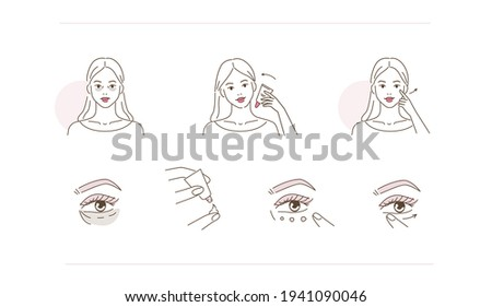 Beauty Girl Taking Care of her Under Eye Skin and Applying Eye Cream. Woman Making Treatment against Dark Circles. Beauty Skincare Routine. Flat Line Vector Illustration and Icons set.