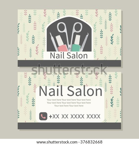 Beauty, manicure, care. Nail Salon. Cute design of business cards for manicure  salon with delicate herbs. Vector design