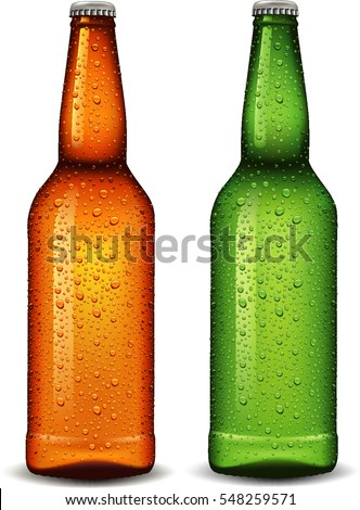 beer bottle with many waters