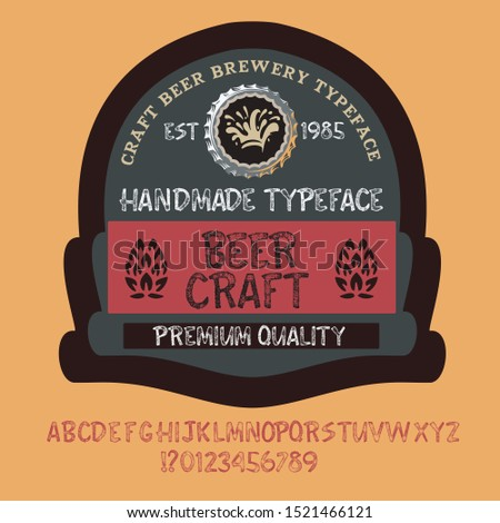 """beer craft "" typeface. Vector hand crafted font in medieval style with hops. Good for posters, alcohol label and festival invitation.Letters and numbers.Vector illustration."