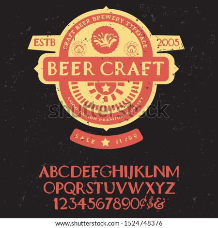 "beer craft "" typeface. Vector hand crafted font in medieval style with hops. Good for posters, alcohol label and festival invitation.Letters and numbers.Vector illustration."