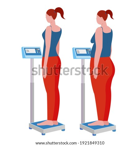 before and after. weight gain and weight loss. thin and fat woman on the scales. electronic scales. stock vector illustration isolated on white background. Сток-фото ©