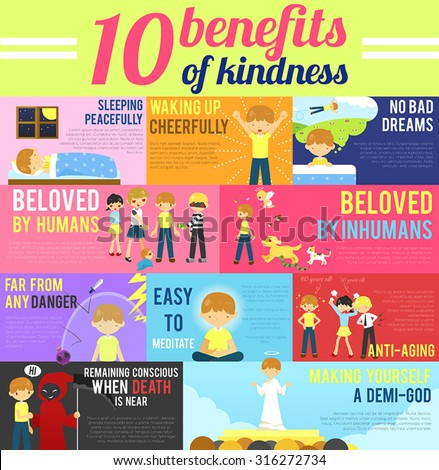 10 benefits advantage of love and kindness in cute cartoon infographic banner template layout background design for self-improvement education, religion, and morality purpose, create by vector