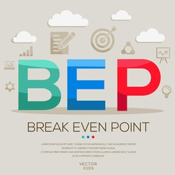 BEP mean (break even point) ,letters and icons,Vector illustration.