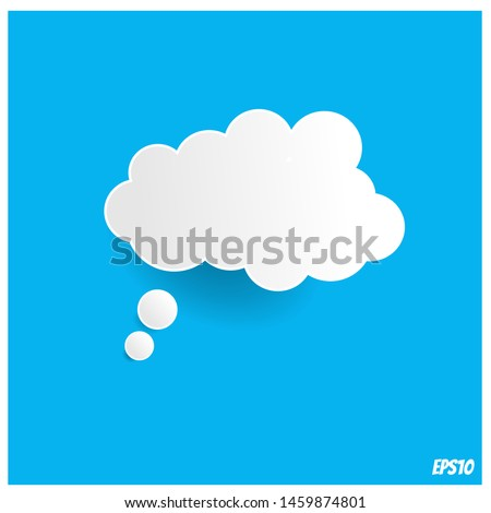 Bevel thought bubble on blue background.vector ilustration