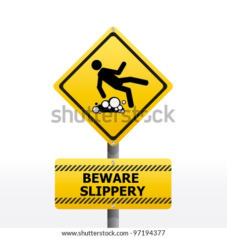 beware slippery sign vector