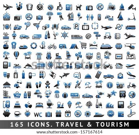 165 Bicolor Icons. Travel And Tourism, Blue Symbols