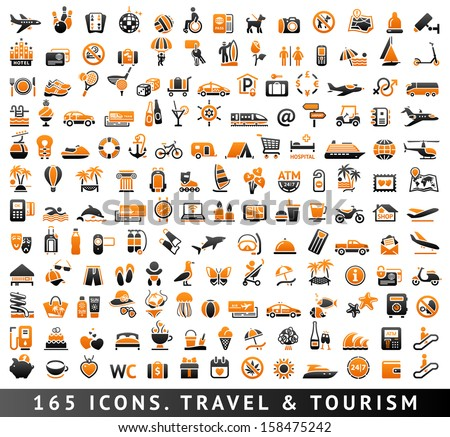 165 bicolor (orange and gray) icons. Travel and Tourism