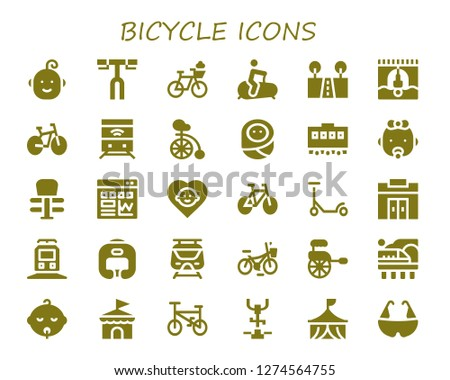 bicycle icon set. 30 filled bicycle icons. Simple modern icons about  - Baby, Handlebar, Bicycle, Stationary bike, Street, Bungee jumping, Bike, Train, Unicycle, Exercise, Traffic