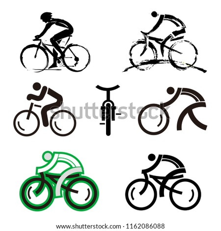 Bicycle icons. Expressive and geometry stylized  icons of cycling. Vector available.
