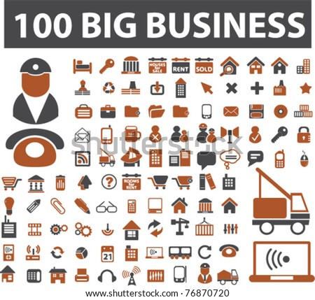 100 big business icons, signs, vector illustrations
