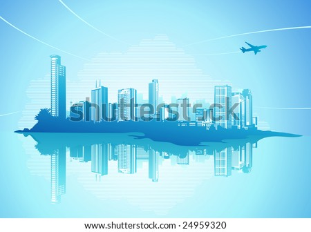 Big City - Grunge styled urban background.  Vector illustration.
