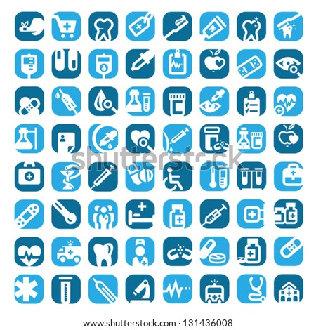 64 Big Colorful Medical Icons Set Created For Mobile, Web And Applications.
