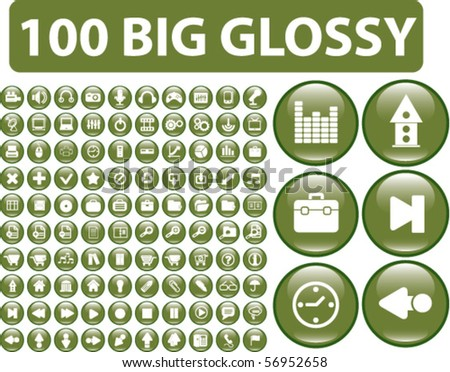 100 big glossy media buttons. vector