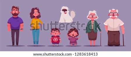Big happy family together. Character design. Cartoon vector illustration. Three generations - grandparents, parents and children